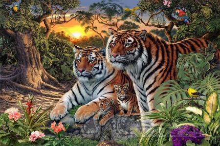 Найди 16 тигров в джунглях на картинке