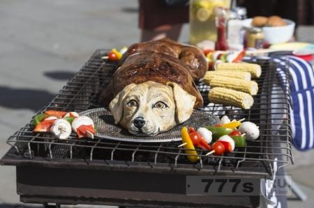 PETA приготовила гриль из «собаки» на Трафальгарской площади в Лондоне