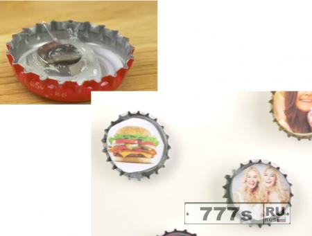Самоделки: магнитики на холодильник  на основе пивной крышки