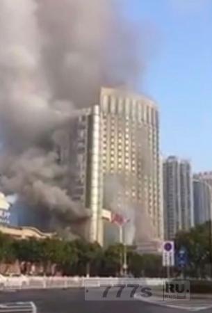 Сильное возгорание возникло утором в китайском отеле.