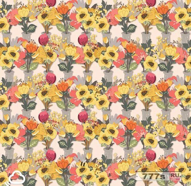 Можете ли вы найти пчелу которая прячется в этих букетах цветов?