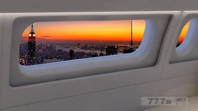 Большие широкоэкранные окна появятся в самолетах с 2018 года.