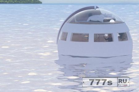 Плавучий номер отеля дрейфует в океане до прибытия на необитаемый остров под утро.