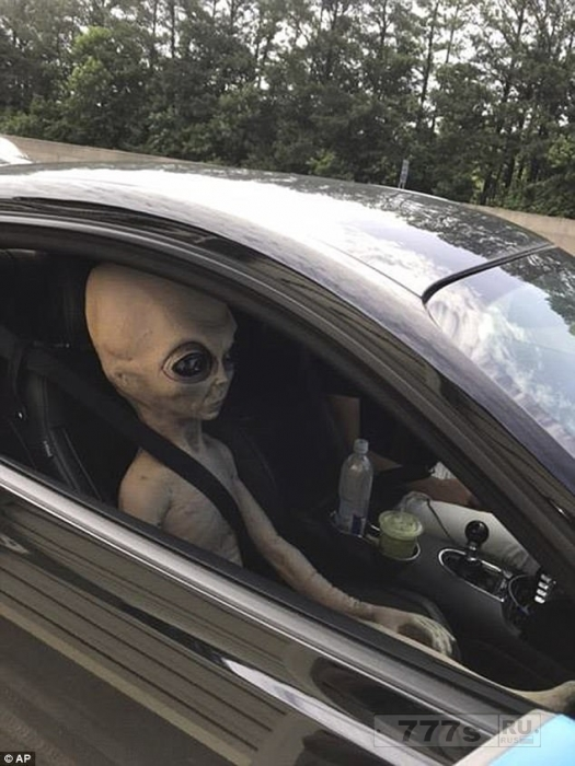 Кукла инопланетянина в натуральную величину была пристегнута на пассажирском сиденье спортивного автомобиля.