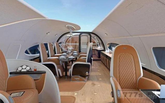 Взгляните на первой в истории частный самолет «кабриолет» – со стеклянным потолком и собственной столовой.