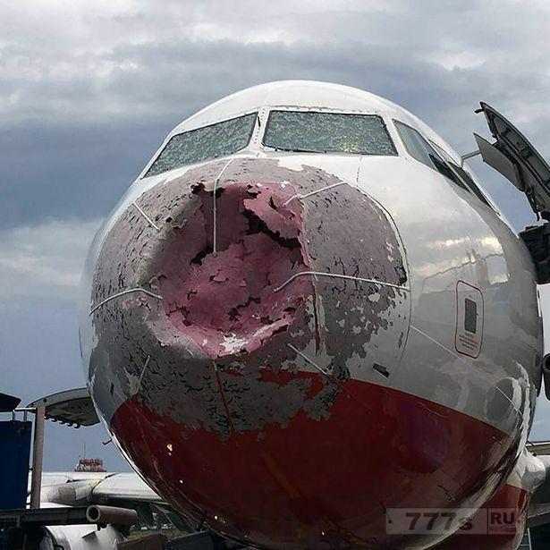 Пилот посадил самолет полный туристов, «вслепую», так как градины поцарапали лобовое стекло и «сильно» повредили самолет.