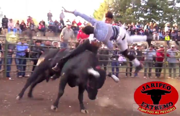 Ужасный момент взбесившийся бык жестоко забадывает одного и затаптывает другого во время родео.