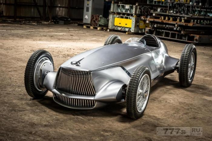 Infiniti представляет концепт Prototype 9 - потрясающий полностью электрический гоночный автомобиль, который является возвратом к 1940-м годам.