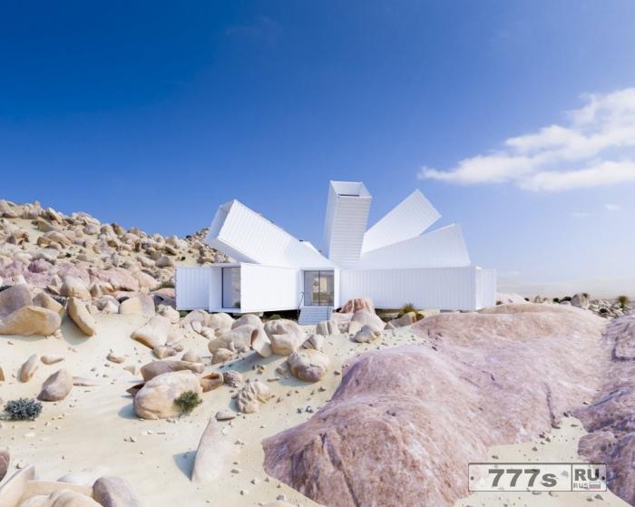 Дизайнер построил дом в пустыне, изготовленный из морских контейнеров.