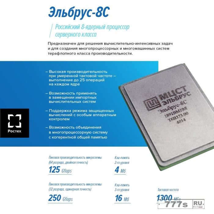 Российский 8-ми ядерный процессор Эльбрус-8С