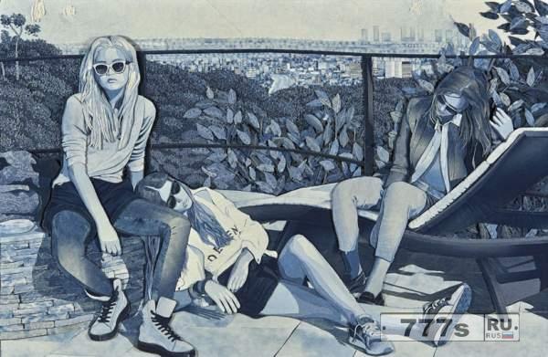 Художник Ян Берри создает картины, используя джинсовую ткань