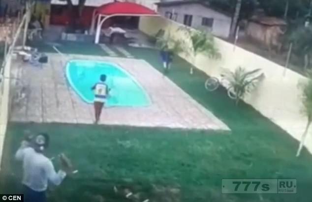 Муж стреляет в грабителя, бегущего за его женой, и отправляет его в бассейн.