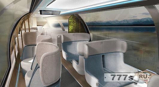 Это пригородный поезд будущего с тренажерным залом, игровыми консолями и мини-кухнями.