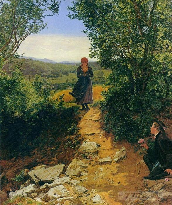 На старинной картине женщина, просматривает свой Айфон.