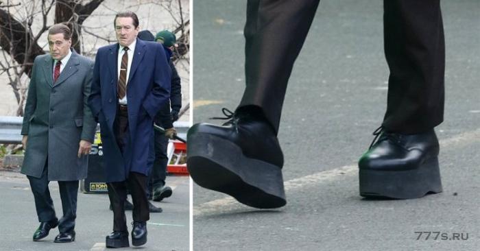 Роберт Де Ниро носит обувь на гигантской платформе, чтобы выглядеть выше, когда он снимается с Аль Пачино