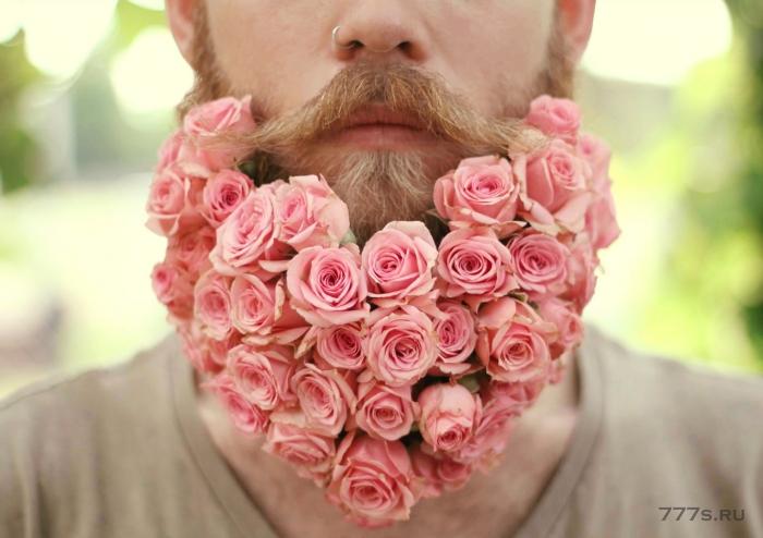Борода с цветами
