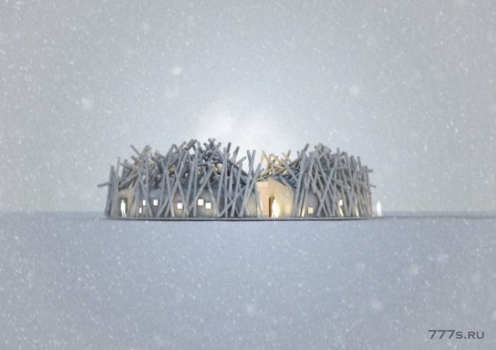 В Швецию прибывает плавучий арктический отель и спа, который выглядит как куча палок