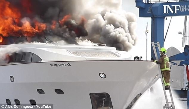 Кошка отказывается уходить с палубы пылающей яхты стоимостью 5 миллионов фунтов стерлингов в Аликанте