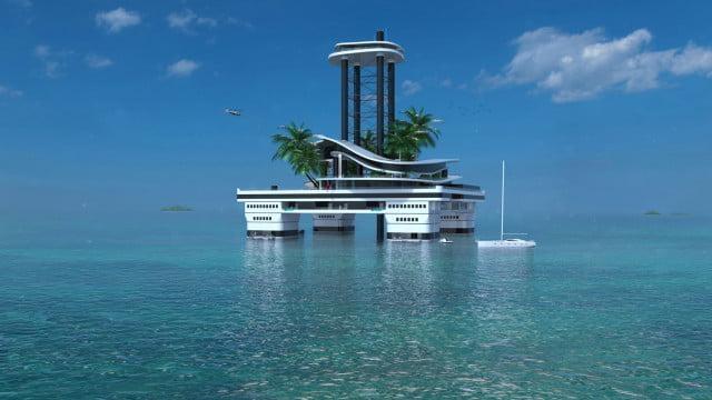 Плавучий остров Migaloo позволяет вам отбуксировать его в разные точки по всему океану