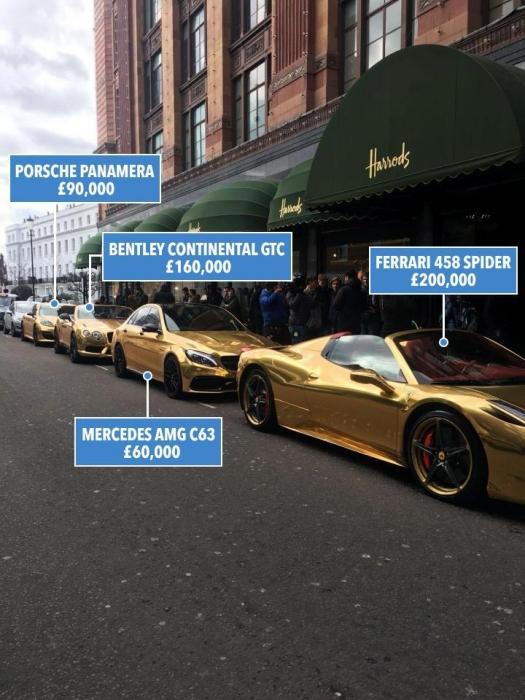Невероятный ряд суперкаров на сумму более 500 000 фунтов стерлингов, припаркован возле знаменитого универмага Harrods для съемок Top Gear