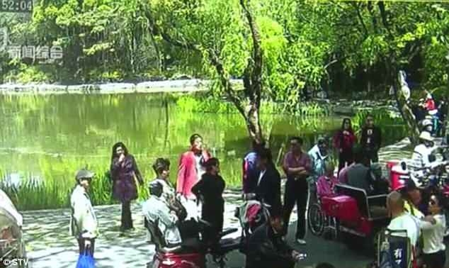 Инвалид в коляске падает в пруд, так как ее опекун наблюдает за танцорами, которые показывают шоу в парке