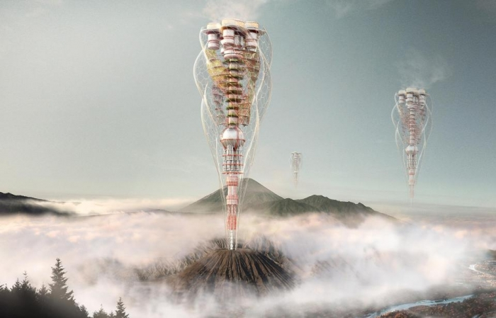 Мобильные небоскребы, печатные здания и дома над вулканами показывают здания будущего