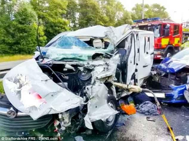 Очаровательного щенка стаффордширского бультерьера Мемфиса вырезают из обломков автомобиля. Он попал в ловушку