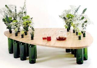 Изготовление мебели из бутылок от вина