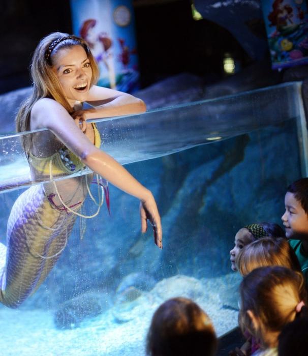 Русалка внутри аквариума Парижа