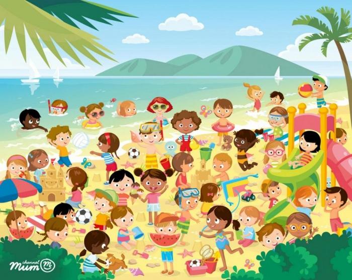 Можете ли вы найти скрытых близнецов на пляже на этой головоломке?