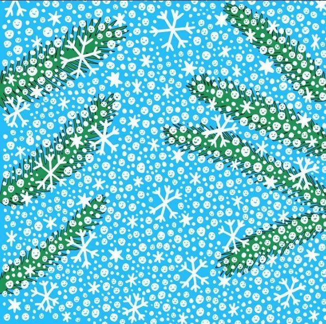 А вот и снежная новогодняя шутка на картинке.  Найдите крошечного снеговика, спрятавшегося среди снежинок