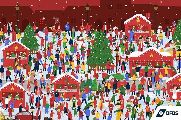Новая праздничная головоломка. Найдите Деда Мороза на оживленной рыночной картинке за максимум 18 секунд