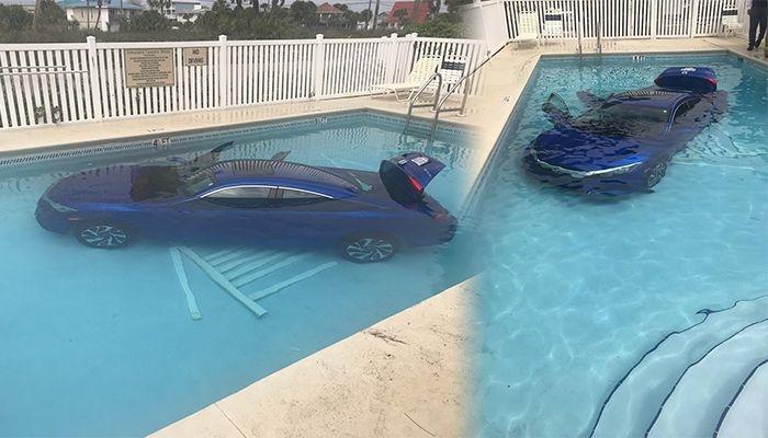 Женщина забыла поставить машину на стоянку, и машина скатилась в бассейн с мужем и ребенком внутри.