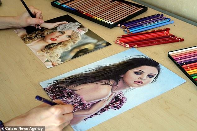 Художник создает потрясающий портрет Тейлор Свифт левой рукой, одновременно рисуя Селену Гомес правой