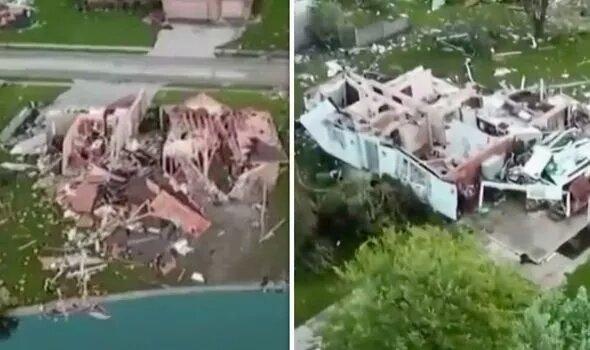 Фото с беспилотника показывают, разрушения, вызванные сильным торнадо