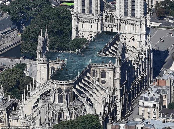Архитекторы предлагают бассейн на крыше при восстановлении Нотр-Дама в Париже после того, как 850-летний собор был разрушен пожаром