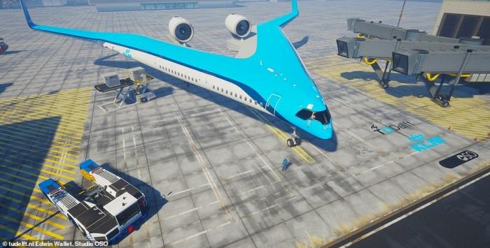 Самолет Flying-V, названный «Гитарой», сжигает на 20% меньше топлива, чем обычный самолет, и может перевозить более 300 пассажиров