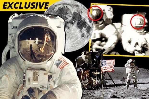 При посадке американцев на Луну на фото явно видно отражение осветительного прожектора