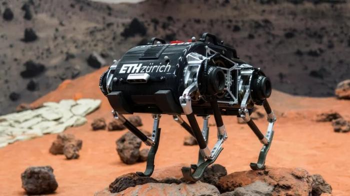 Собакоподобный робот, спроектированный для прыжков по пересеченной местности на других планетах, играет в пинг-понг