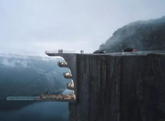 Архитектор спроектирует гостиницу, подвешенную над утесом высотой 600 метров в Норвегии