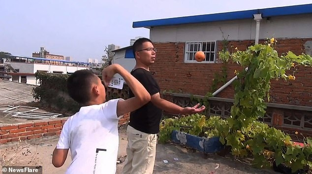 Подросток метает игральные карты с такой силой, что они втыкаются во фрукты и деревянные доски