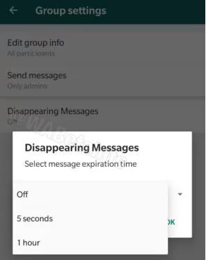 В Whatsapp тестируют удаление сообщений по таймеру.
