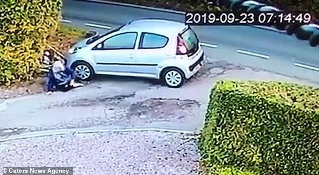 Женщина водитель отвлечена яйцами на обочине дороги, и её сбивает собственная машина, потому что она забыла поставить её на ручник