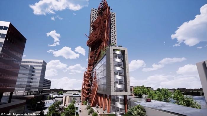Строительство 135-метрового здания, похожего на тонущий танкер, рассматриваются в Праге