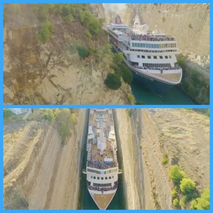 Огромный круизный лайнер протискивается через узенький канал на потрясающих картинках