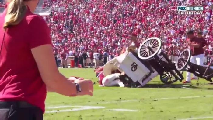 Ужасный момент падения лошади и повозки во время матча по американскому футболу