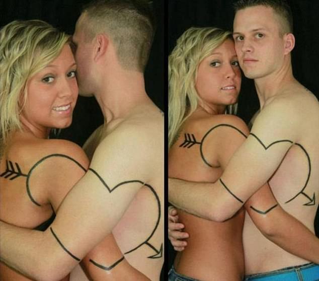 Посмотрите веселую подборку со странными парами на фото. Одна из них влюбленная с татуировкой в форме сердца между ними