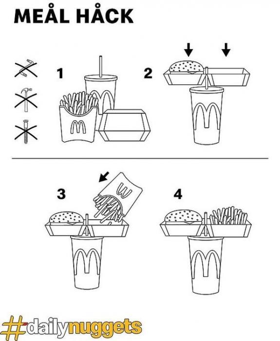 Макдональдс придумал трюк, как съесть полный набор еды одной рукой. Но мнения поклонников фаст-фуда разошлись.