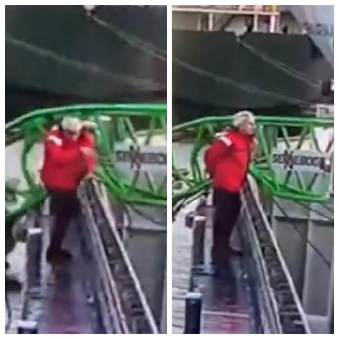 Портового рабочего чуть не убила балка крана, которая упала в 10 сантиметрах от него, когда он смотрел на свой телефон
