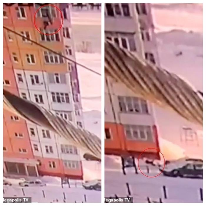 Невероятно! Женщина падает с высоты 27 метров из высотки в России, но встает и уходит после приземления в сугроб